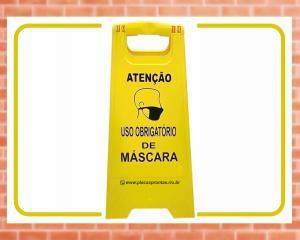Cavalete para Sinalização Uso obrigatório de máscara. (Cod: CV02) Plástico