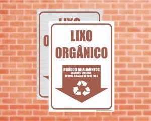 Placa Coleta Seletiva Lixo Orgânico, resíduos de alimentos (Cod: CS17)    Adesivo vinil impressão digital Corte Reto