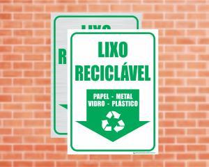 Placa Coleta Seletiva Lixo Reciclável: Papel, Metal, Vidro e Plástico (Cod: CS16)    Adesivo vinil impressão digital Corte Reto