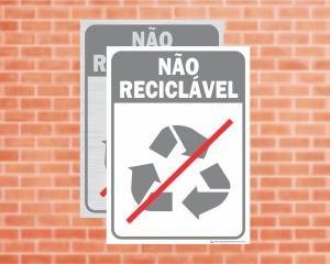 Placa Coleta Seletiva Não Reciclável (Cod: CS12)    Adesivo vinil impressão digital Corte Reto