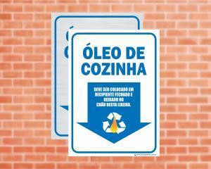 Placa Coleta Seletiva Óleo de cozinha (Cod: CS14)    Adesivo vinil impressão digital Corte Reto