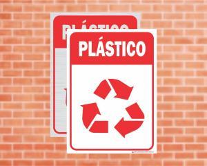 Placa Coleta Seletiva Plástico (Cod: CS05)    Adesivo vinil impressão digital Corte Reto