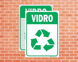 Placa Coleta Seletiva Vidro (Cod: CS08)    Adesivo vinil impressão digital Corte Reto
