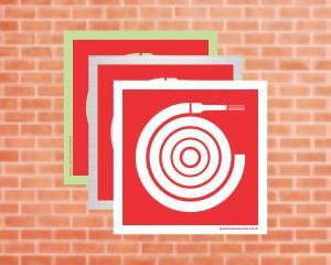 Placa Abrigo de Mangueira e Hidrante (Cod: EX13)    Adesivo vinil impressão digital Corte Reto