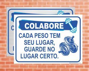 Placa Academia Colabore (Cod: AC02)    Adesivo vinil impressão digital Corte Reto