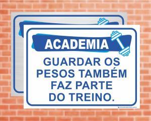Placa Academia GUARDAR OS PESOS. (Cod: AC03)    Adesivo vinil impressão digital Corte Reto
