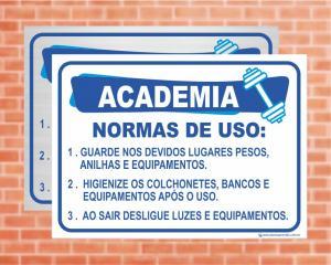 Placa Academia Normas de Uso (Cod: AC01)    Adesivo vinil impressão digital Corte Reto
