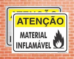 Placa Atenção Material Inflamável (Cod: AT04)    Adesivo vinil impressão digital Corte Reto