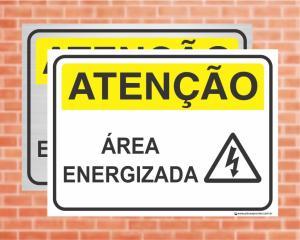 Placa Atenção Área Energizada (Cod: AT29)    Adesivo vinil impressão digital Corte Reto
