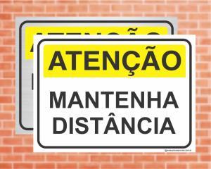 Placa Atenção Mantenha distância (Cod: AT09)    Adesivo vinil impressão digital Corte Reto