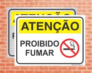 Placa Atenção Proibido Fumar (Cod: AT12)    Adesivo vinil impressão digital Corte Reto