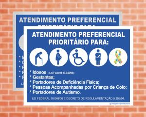 Placa Atendimento preferencial - Lei Federal 10.048/00 (Cod: EC14)    Adesivo vinil impressão digital Corte Reto
