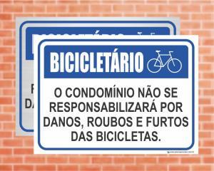 Placa Bicicletário O Condomínio não se responsabiliza por Bicicletas (cod: BI01)    Adesivo vinil impressão digital Corte Reto