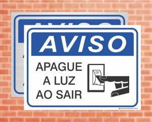 Placa Aviso Apague a Luz ao Sair (cod: AV09)    Adesivo vinil impressão digital Corte Reto