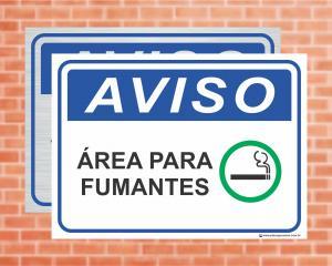 Placa Aviso Área para Fumantes (cod: AV01)    Adesivo vinil impressão digital Corte Reto