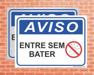 Placa Aviso Entre sem bater (cod: AV18)    Adesivo vinil impressão digital Corte Reto