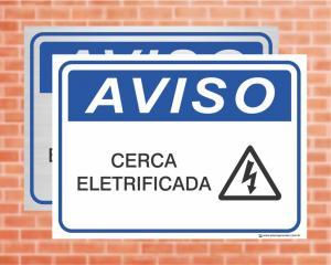 Placa Aviso Cerca Eletrificada (cod: AV05)    Adesivo vinil impressão digital Corte Reto