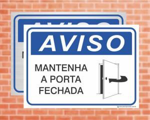 Placa Aviso Mantenha a Porta Fechada (cod: AV14)