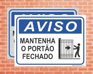 Placa Aviso Mantenha o portão fechado (cod: AV27)