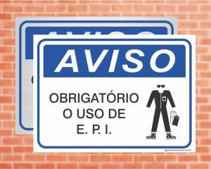 Placa Aviso Obrigatório o Uso de E.P.I (cod: AV16)    Adesivo vinil impressão digital Corte Reto