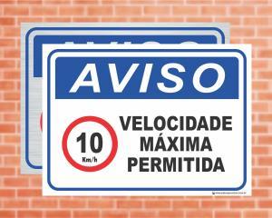 Placa Aviso Velocidade máxima permitida 10km/h (cod: AV26)    Adesivo vinil impressão digital Corte Reto