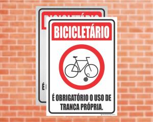 Placa Bicicletário É obrigatório o uso de tranca própria (Cod: ES19)    Adesivo vinil impressão digital Corte Reto