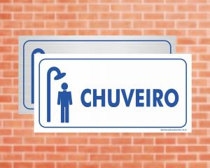 Placa Chuveiro (Cod: EC04)    Adesivo vinil impressão digital Corte Reto