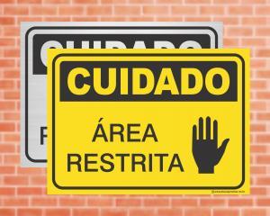 Placa Cuidado Área Restrita (cod: CU08)    Adesivo vinil impressão digital Corte Reto