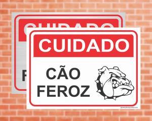 Placa Cuidado Cão Feroz (Cod: IN01)    Adesivo vinil impressão digital Corte Reto