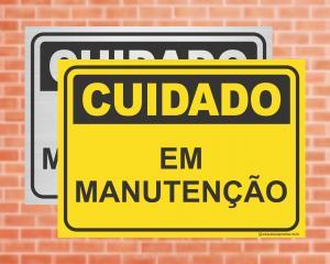 Placa Cuidado Em Manutenção (cod: CU12)    Adesivo vinil impressão digital Corte Reto