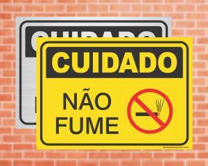 Placa Cuidado Não Fume (cod: CU01)    Adesivo vinil impressão digital Corte Reto