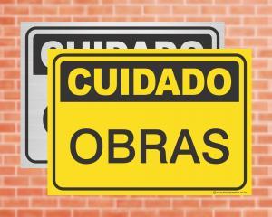 Placa Cuidado Obras (cod: CU02)    Adesivo vinil impressão digital Corte Reto