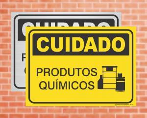 Placa Cuidado Produtos Químicos (cod: CU07)    Adesivo vinil impressão digital Corte Reto