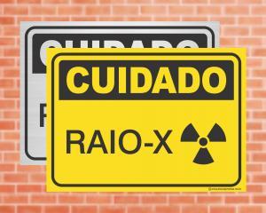 Placa Cuidado Raio-X (cod: CU04)    Adesivo vinil impressão digital Corte Reto