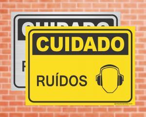 Placa Cuidado Ruídos (cod: CU03)    Adesivo vinil impressão digital Corte Reto