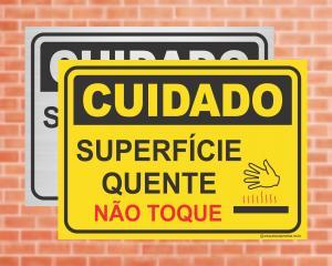 Placa Cuidado Superfície quente não toque (cod: CU13)    Adesivo vinil impressão digital Corte Reto