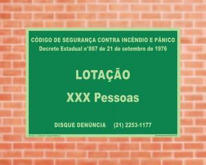 Placa de Sinalização Lotação Máxima (Cod: LOT) PVC 2mm Fotoluminescente 42x30cm  Adesivo vinil impressão digital Corte Reto