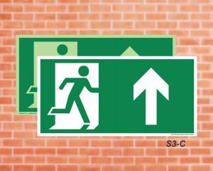 Placa de Sinalização para Rota de Fuga, Saída Acesso Adiante (Cod.: S3)    Adesivo vinil impressão digital Corte Reto
