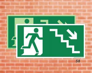 Placa de Sinalização para Rota de Fuga, Saída Escada seta direita descendo (Cod.: S8)    Adesivo vinil impressão digital Corte Reto