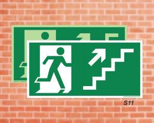 Placa de Sinalização para Rota de Fuga, Saída Escada seta direita subindo (Cod.: S11)    Adesivo vinil impressão digital Corte Reto