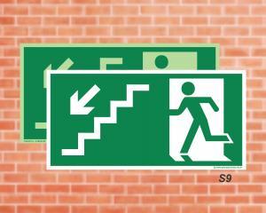 Placa de Sinalização para Rota de Fuga, Saída Escada seta esquerda descendo (Cod.: S9)    Adesivo vinil impressão digital Corte Reto