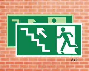 Placa de Sinalização para Rota de Fuga, Saída Escada seta esquerda subindo (Cod.: S10)    Adesivo vinil impressão digital Corte Reto