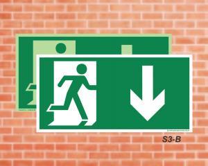 Placa de Sinalização para Rota de Fuga, Saída Seta a baixo (Cod.: S3b)    Adesivo vinil impressão digital Corte Reto