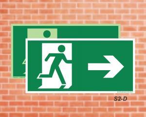 Placa de Sinalização para Rota de Fuga, Saída Seta a Direita (Cod.: S2d)    Adesivo vinil impressão digital Corte Reto