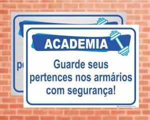 Placa Academia Armários. (Cod: AC07)    Adesivo vinil impressão digital Corte Reto