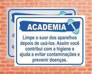 Placa Academia Contribui com a Higiene. (Cod: AC06)    Adesivo vinil impressão digital Corte Reto