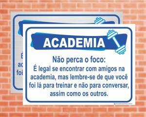 Placa Academia Não perca o foco. (Cod: AC09)    Adesivo vinil impressão digital Corte Reto