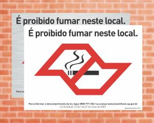 Placa É proibido fumar neste local. Lei Anti Fumo - São Paulo (Cod: L4)    Adesivo vinil impressão digital Corte Reto