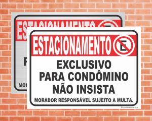 Placa Estacionamento exclusivo para condômino (Cod: IN11)    Adesivo vinil impressão digital Corte Reto