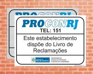 Placa Este estabelecimento dispõe do Livro de Reclamações. LEI Nº 6613 (Cod: L9)    Adesivo vinil impressão digital Corte Reto